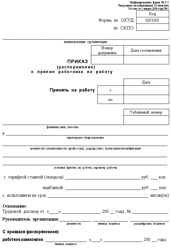 Блок схема приказа о приеме на
